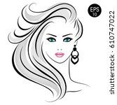 stock blonde woman. beauty girl ... | Shutterstock .eps vector #610747022