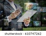 smart phone news application... | Shutterstock . vector #610747262
