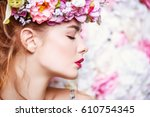 beautiful romantic young woman... | Shutterstock . vector #610754345