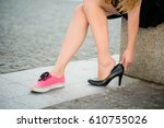 young woman on street   one... | Shutterstock . vector #610755026