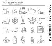 big set of symbols of herbal... | Shutterstock .eps vector #610755032