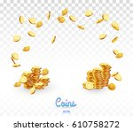 realistic gold coins falling... | Shutterstock .eps vector #610758272