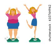 fat and slim girls. sadly thick ... | Shutterstock .eps vector #610764962