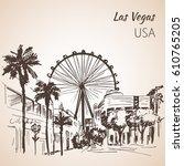 las vegas cityscape sketch.... | Shutterstock .eps vector #610765205