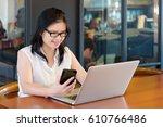 asian charming beautiful girl... | Shutterstock . vector #610766486