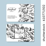 seafood hand drawn vector... | Shutterstock .eps vector #610771502