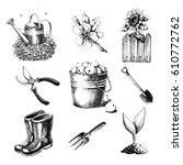gardening set. hand drawn... | Shutterstock . vector #610772762