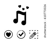 musical note with hearts icon... | Shutterstock .eps vector #610773326