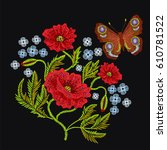 embroidery stitches with red... | Shutterstock .eps vector #610781522