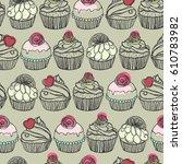 seamless muffin pattern | Shutterstock .eps vector #610783982