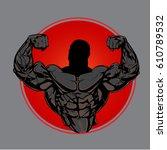 bodybuilder from the front...   Shutterstock .eps vector #610789532