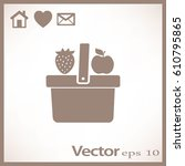flat icon. shopping basket.... | Shutterstock .eps vector #610795865