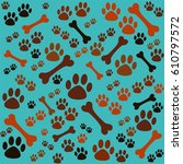 background with dog paw print... | Shutterstock . vector #610797572