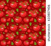 juicy tomatoes seamless pattern.... | Shutterstock .eps vector #610807406