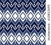ikat seamless pattern design... | Shutterstock . vector #610812695