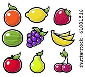 a set of fruit icons.