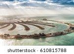 aerial view of dubai palm... | Shutterstock . vector #610815788