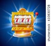 golden slot machine wins the... | Shutterstock .eps vector #610830728