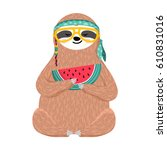 cute baby sloth eating... | Shutterstock .eps vector #610831016