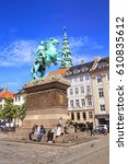 Small photo of COPENHAGEN, DENMARK - JUNE 15: Absalon Monument. Statue of Bishop Axel Absalon and St. Nicholas Church, Hojbro Plads in 2012.
