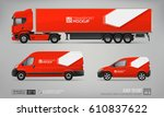 mockup set of red truck trailer ... | Shutterstock .eps vector #610837622