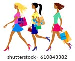 three shopping girls in flat... | Shutterstock . vector #610843382