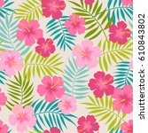 cute hibiscus and palm leaf... | Shutterstock .eps vector #610843802