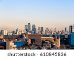 sunset over financial district... | Shutterstock . vector #610845836
