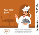 vector chef character on a... | Shutterstock .eps vector #610855526