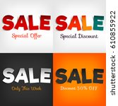 a colorful paper banners for... | Shutterstock .eps vector #610855922