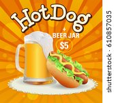 beer and hot dog offer. hand... | Shutterstock .eps vector #610857035