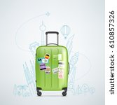 color plastic travel bag with... | Shutterstock .eps vector #610857326