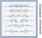 set of vintage dividers. you... | Shutterstock .eps vector #610858532