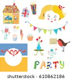 party elements for the kids... | Shutterstock .eps vector #610862186