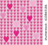 vector background with hearts ... | Shutterstock .eps vector #610865186