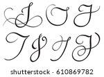 set of art calligraphy letter j ...