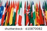 international flags in a row. | Shutterstock . vector #610870082