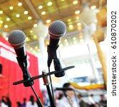 closeup microphone in...   Shutterstock . vector #610870202