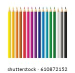 colored pencils  crayons set ... | Shutterstock .eps vector #610872152