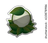 green ecology label icon vector ... | Shutterstock .eps vector #610878986