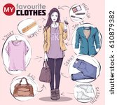 fashion infographic. vector... | Shutterstock .eps vector #610879382