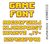 pixel video game font. 8 bit... | Shutterstock .eps vector #610882112