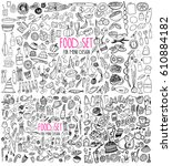 hand drawn food elements. set... | Shutterstock .eps vector #610884182