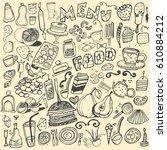 hand drawn food elements. set... | Shutterstock .eps vector #610884212