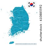 south korea map and flag  ... | Shutterstock .eps vector #610885592