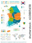 south korea map and flag  ... | Shutterstock .eps vector #610885658