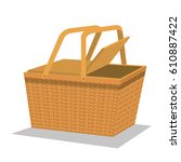 picnic basket isolated icon | Shutterstock .eps vector #610887422