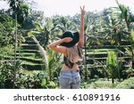 young blonde hipster woman... | Shutterstock . vector #610891916