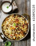 keema   hyderabadi  kheema ...   Shutterstock . vector #610892135