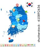 south korea map and flag  ... | Shutterstock .eps vector #610892636